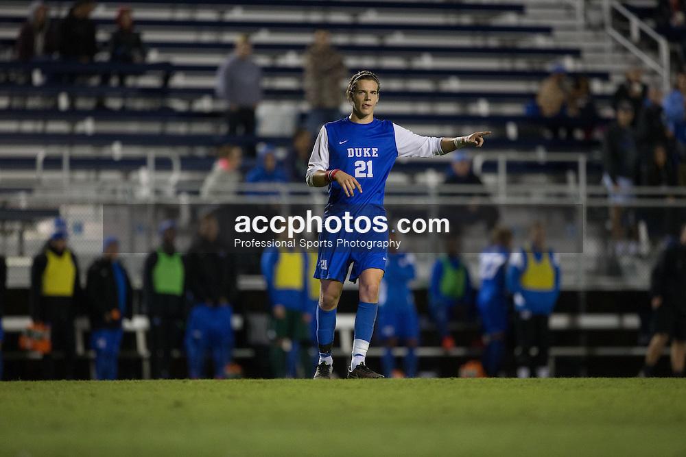 2015 October 05: Markus Fjørtoft #21 of the Duke Blue Devils during a 3-2 overtime win over the Hofstra Pride at Koskinen Stadium in Durham, NC.