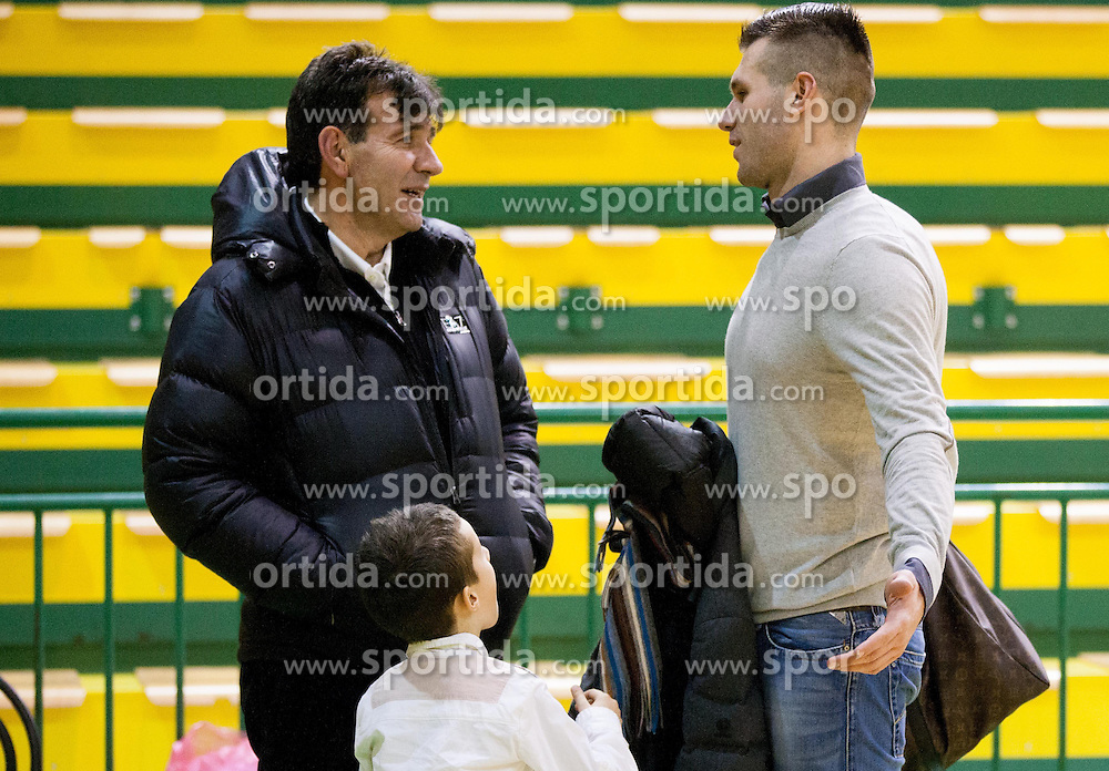 Memi Becirovic and his son Sani Becirovic of Krka after the basketball match between KK Krka and KK Union Olimpija Ljubljana in Round 12 of ABA League 2013/14, on December 14, 2013 in Arena Leon Stukelj, Novo mesto, Slovenia. Photo by Vid Ponikvar / Sportida
