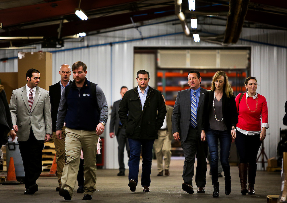 Presidential candidate Sen. Ted Cruz, R-Tx., is given a tour of Dane Manufacturing, a small metal fabrication company in a suburb of Madison, Wisconsin by its president, on March 24, 2016. Cruz will be campaigning around the state in advance of the Wisconsin Presidential primary to be held on April 5. REUTERS/Ben Brewer