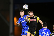 Rotherham United midfielder Jon Taylor (11) and Gillingham FC midfielder Jake Hessenthaler (8)  during the EFL Sky Bet League 1 match between Gillingham and Rotherham United at the MEMS Priestfield Stadium, Gillingham, England on 17 April 2018. Picture by Martin Cole.