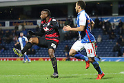 Junior Hoilett clears during the Sky Bet Championship match between Blackburn Rovers and Queens Park Rangers at Ewood Park, Blackburn, England on 12 January 2016. Photo by Pete Burns.