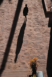 Asia, India, Ladakh, young monk and shadow at Thikse Monastery