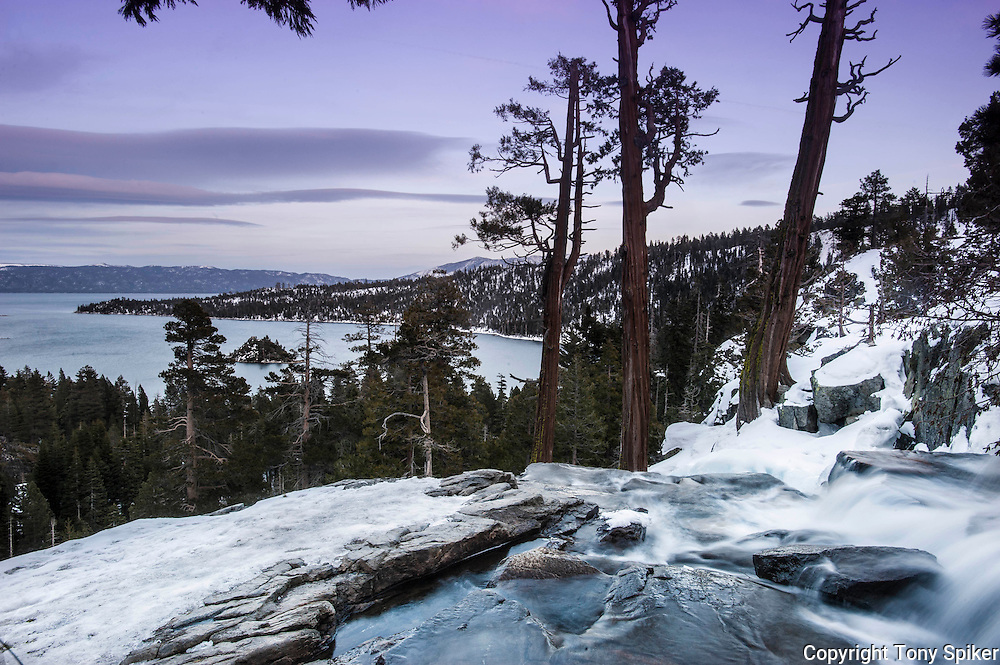 """Winter Sunset at Emerald Bay 1"" - A landscape photograph of sunset overlooking Emerald Bay at Lake Tahoe from Eagle Falls."