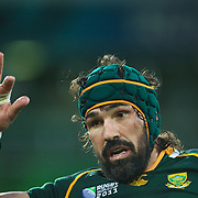 Victor Matfield, South Africa, in action during the South Africa V Australia Quarter Final match at the IRB Rugby World Cup tournament. Wellington Regional Stadium, Wellington, New Zealand, 9th October 2011. Photo Tim Clayton...