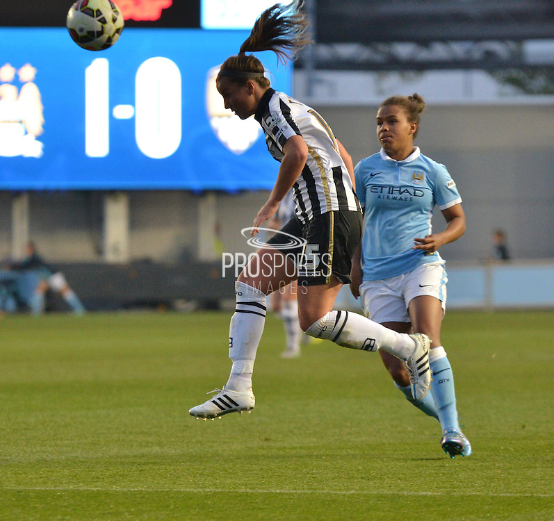 Notts County Ladies defender, Amy Turner heads back to Notts County Ladies goalkeeper, Carly Telford during the FA Women's Super League match between Manchester City Women and Notts County Ladies at the Sport City Academy Stadium, Manchester, United Kingdom on 4 October 2015. Photo by Mark Pollitt.