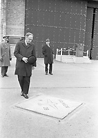 473-220<br /> The Taoiseach Mr. Liam Cosgrave, beside the marble tablet which marks the spot at Casement Aerodrome from which the Bremen started its take-off on 12th April 1928, to successfully fly the Atlantic from east to west for the first time.<br /> Pic: R.S. 12/4/73<br /> The first east-west non-stop transatlantic flight, in April 1928, flew from Baldonnel, Ireland to Greenly Island, Canada, in a Junkers W 33 monoplane, the &quot;Bremen&quot;. The crew of the Bremen were Capt. Hermann K&ouml;hl, Col. James Fitzmaurice and Baron Gunther Von H&uuml;nefeld.<br /> (Part of the Independent Newspapers Ireland/NLI Collection)