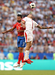 SAMARA, June 17, 2018  Giancarlo Gonzalez (L) of Costa Rica competes for a header with Aleksandar Mitrovic of Serbia during a group E match between Costa Rica and Serbia at the 2018 FIFA World Cup in Samara, Russia, June 17, 2018. (Credit Image: © Fei Maohua/Xinhua via ZUMA Wire)