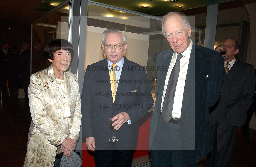 Left to right, LADY ROTHSCHILD, Historian DAVID STARKEY  and LORD ROTHSCHILD at 'Britannia & Muscovy English Silver at The Court of The Tsars' exhibition opening at the Gilbert Collection, Somerset House, London on 20th October 2006<br /><br />NON EXCLUSIVE - WORLD RIGHTS