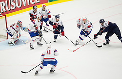 Alexander Bonsaksen of Norway vs Marek Viedensky of Slovakia during Ice Hockey match between Slovakia and Norway at Day 6 in Group B of 2015 IIHF World Championship, on May 6, 2015 in CEZ Arena, Ostrava, Czech Republic. Photo by Vid Ponikvar / Sportida