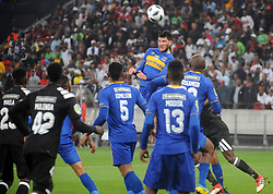 Cape Town 18-03-14  Cape Town city player Roland Putsche challeging for the ball  against Orlando Pirates nedbank Cup in  Cape Town Stadium Pictures Ayanda Ndamane African news agency/ANA