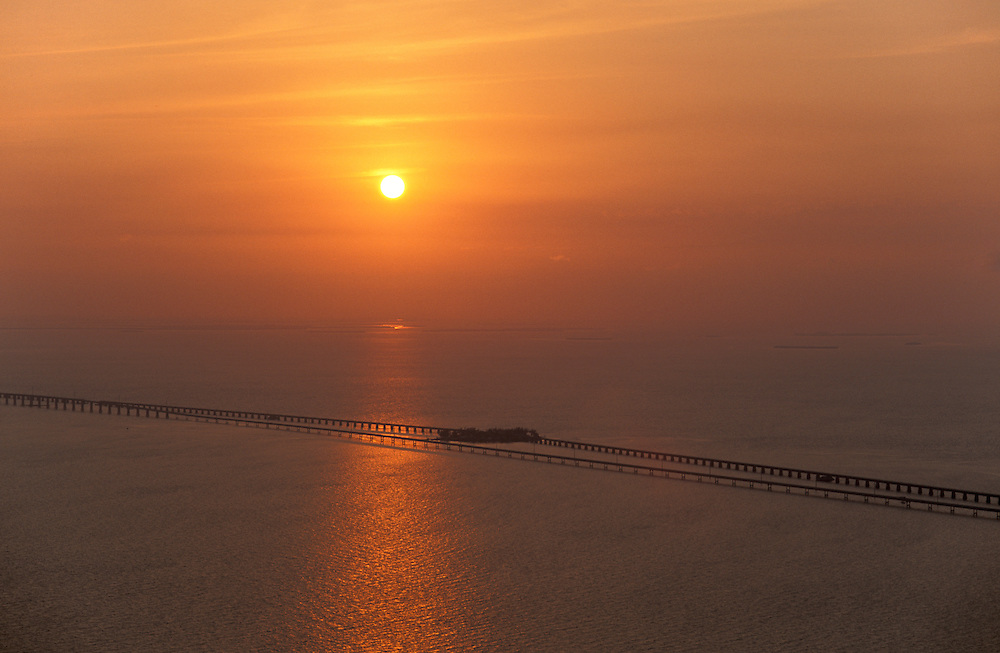 Aerial view of seven mile bridge, sunset,Florida Keys,Florida,USA