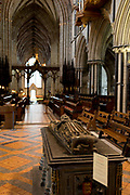 The tomb of King John (1167-1216) in Worcester Cathedral, on 23rd June 2019, in Worcester, England. King John was the fourth and youngest son of Henry II.