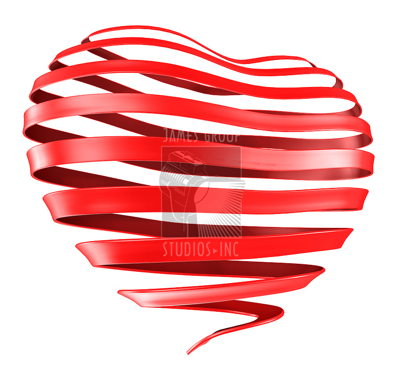 A Ribbon curled into the shape of a heart.