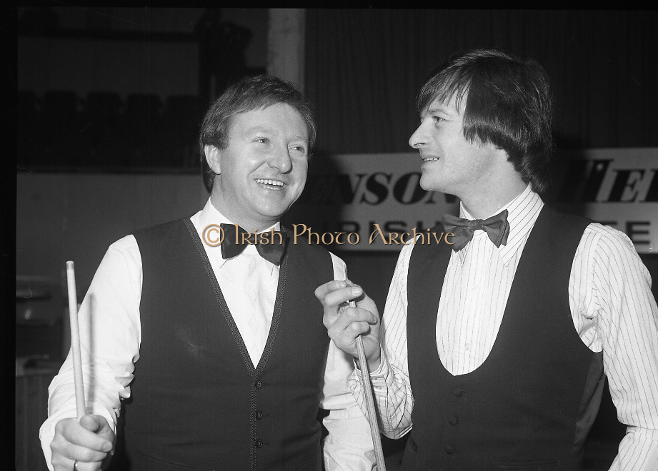 1980-05-01.1st May 1980.01-05-1980.05-01-80..Photographed at Goffs, Kill, Co Kildare..When Irish Eyes Are Smiling:..From left to right..Denis Taylor.Alex Higgins..At the Benson and Hedges Irish Masters Snooker Competition.