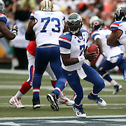 Philadelphia Eagle QB, Michael Vick, fakes the AFC Defensie with a play action pass in the 1st Quarter of the NFL Pro Bowl, Aloha Stadium, 1/30/11, Photo by Barry Markowitz