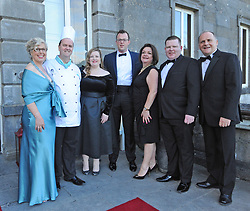 Westport Food Festival committee at the Mis-Summer Banquet at Wesport House on friday last, Lesley Emerson, Eoin McDonnell, Sinead Foody, Barney Clarke, Sinead Barroso, Stephen Rodgers and Declan Heneghan.<br /> Pic Conor McKeown.