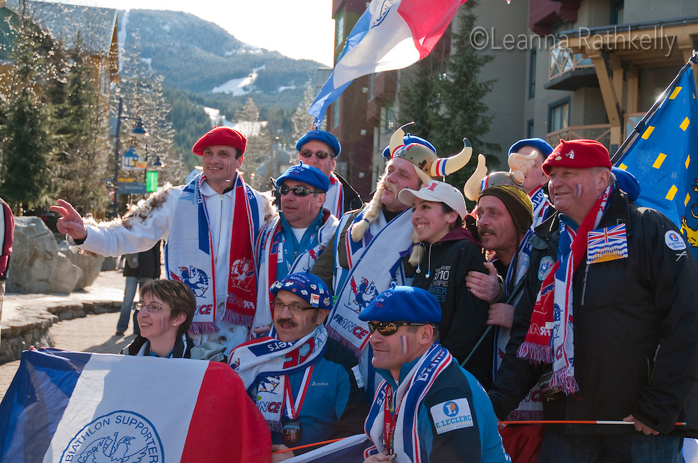 A group of biathlon fans from France cheer in Whistler Village during the 2010 Olympic Winter Games in Whistler, BC Canada