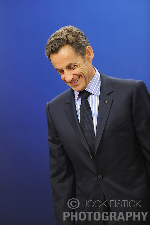 Nicolas Sarkozy, France's president, arrives for the European Summit at the EU headquarters in Brussels, Belgium, on Thursday, Sept. 17, 2009. European Union leaders may call for sanctions on banks that pay excessive bonuses, fearing that runaway executive pay could trigger another financial crisis, a draft text showed. (Photo © Jock Fistick) *** Local Caption ***Nicolas Sarkozy