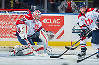 KELOWNA, CANADA - NOVEMBER 17: Stuart Skinner #74 of the Lethbridge Hurricanes defends the net against the Kelowna Rockets on November 17, 2017 at Prospera Place in Kelowna, British Columbia, Canada.  (Photo by Marissa Baecker/Shoot the Breeze)  *** Local Caption ***