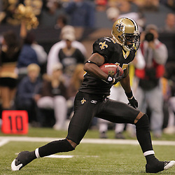 2008 December, 07: New Orleans Saints kick returner Courtney Roby (15) returns a kickoff during a 29-25 victory by the New Orleans Saints over NFC South divisional rivals the Atlanta Falcons at the Louisiana Superdome in New Orleans, LA.