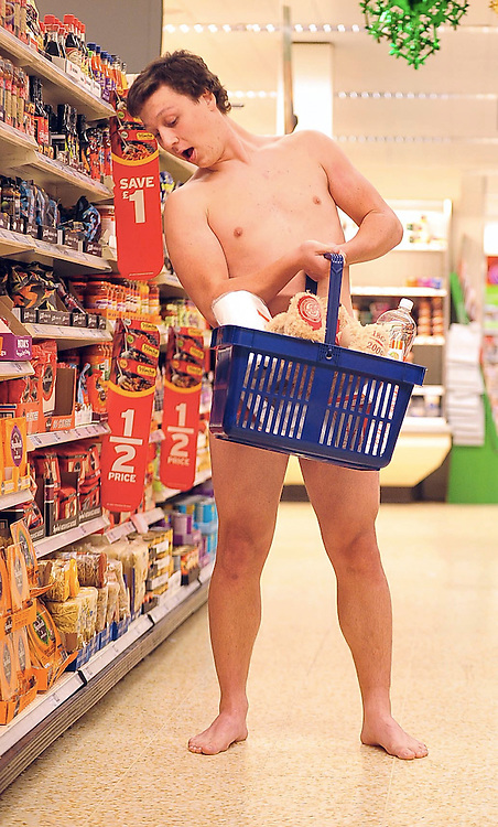 Trevor Westjoined his fellow members of staff at Sainsbury's Wyvern store to strip for a charity calendar. Trevor is pictured naked, shopping in the shop's aisles.