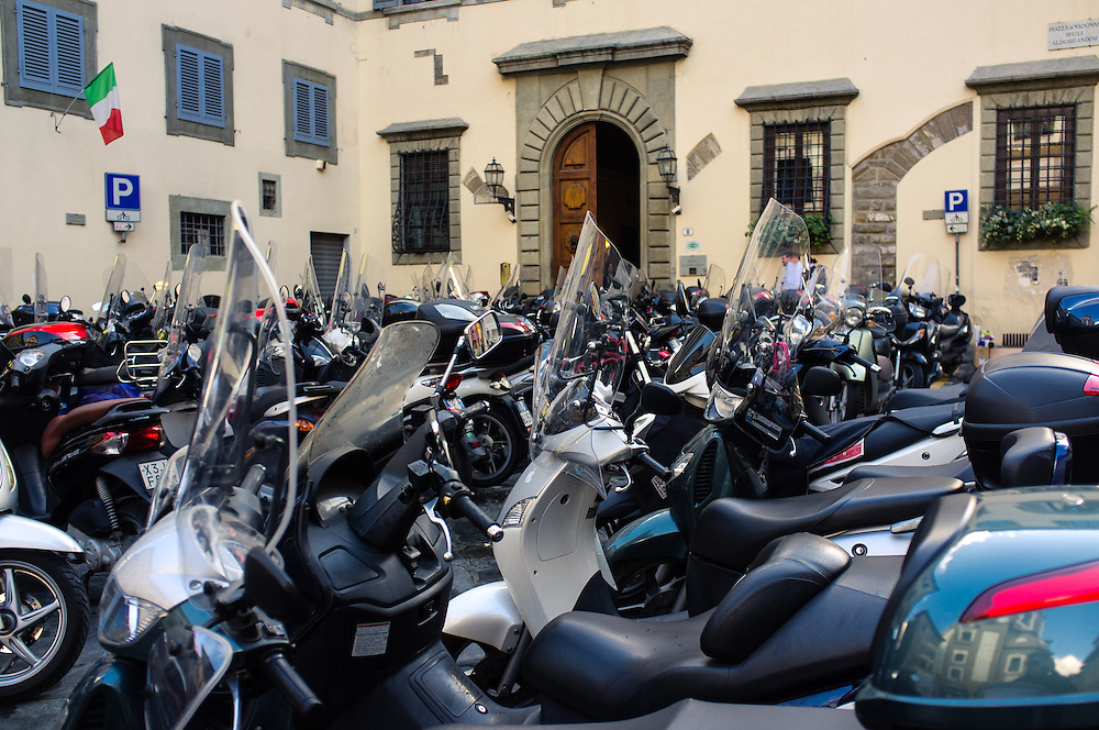 Scooters parked in Florence, Italy