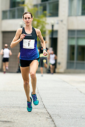 Molly Huddle warms up prior to winning race, CVS Health Downtown 5k, USA 5k road championship,