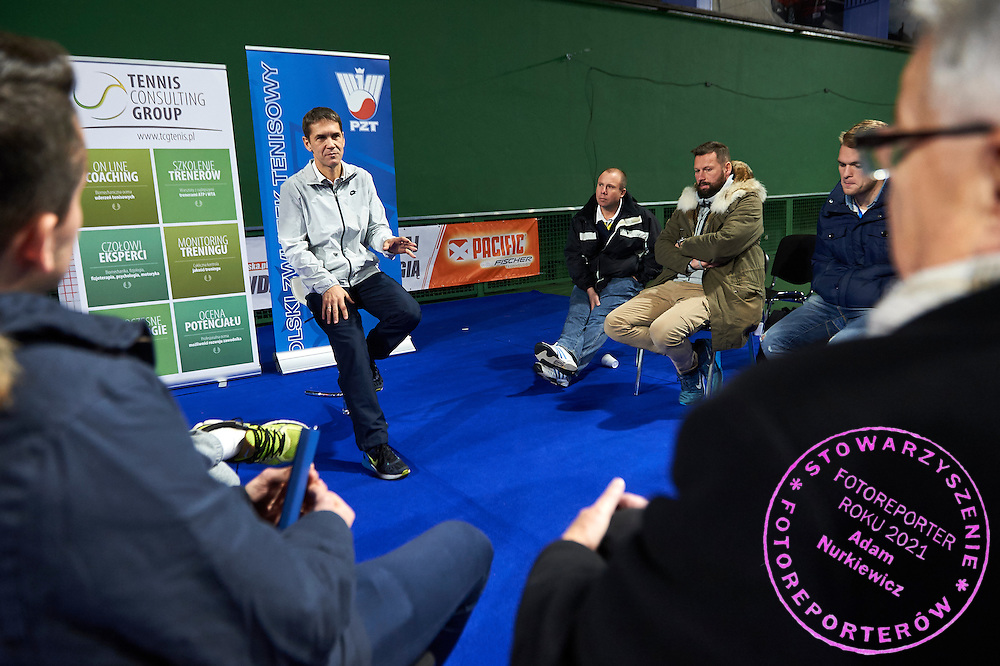 Waclaw Mirek personal physiotherapist of Agnieszka Radwanska speaks during PZT - Trainer's Conference of Polish Tennis Association at Mera Hall in Warsaw, Poland.<br /> <br /> Poland, Warsaw, November 28, 2015<br /> <br /> Picture also available in RAW (NEF) or TIFF format on special request.<br /> <br /> Any editorial, commercial or promotional use requires permission.<br /> <br /> Adam Nurkiewicz declares that he has no rights to the image of people at the photographs of his authorship.<br /> <br /> Mandatory credit:<br /> Photo by &copy; Adam Nurkiewicz / Mediasport