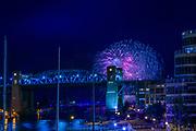Fireworks on English Bay for Celebration of Light - Team Sweden<br /> <br /> Show overlooking False Creek Yacht Club Marina and the Burrard Bridge.<br /> <br /> f11 @ 4 s, 1600 ISO<br /> AF Zoom 24-70mm f/2.8G at 70 mm on NIKON D850