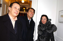 Left to right, DETMAR BLOW, Singer BRYAN FERRY and Fashion writer ISABELLA BLOW at a private view of an exhibition of photographs by the late Robert Mapplethorpe curated by artist David Hockney at the Alison Jacques Gallery, 4 Clifford Street, London W1 on 13th January 2005.<br /><br />NON EXCLUSIVE - WORLD RIGHTS