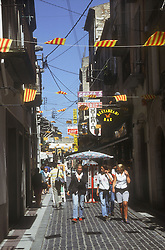 Street scene in Figueres; Catalunya; with Catalan flags and bunting,