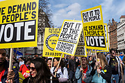 Put It To The People march for a Peoples Vote on 23rd March 2019 in London, United Kingdom. With less than one week until the UK is supposed to be leaving the European Union, the final result still hangs in the balance and protesters gathered in their hundreds of thousands to make political leaders take notice and to give the British public a vote on the final Brexit deal. (photo by Andrew Aitchison / In Pictures via Getty Images)