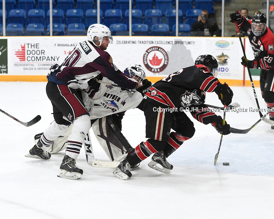 TRENTON, ON  - MAY 2,  2017: Canadian Junior Hockey League, Central Canadian Jr. &quot;A&quot; Championship. The Dudley Hewitt Cup. Game 1 between Dryden GM Ice Dogs and the Georgetown Raiders. Cody Wardner #20 and  Patrick Zubick #1 of the Dryden GM Ice Dogs  tries to keep the puck from Jack Jacome #23 of the Georgetown Raiders during the first period.<br /> (Photo by Andy Corneau / OJHL Images)