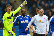 Chesterfield FC forward Sylvan Ebanks-Blake awaits a corner kick during the Sky Bet League 1 match between Chesterfield and Crewe Alexandra at the Proact stadium, Chesterfield, England on 20 February 2016. Photo by Aaron Lupton.