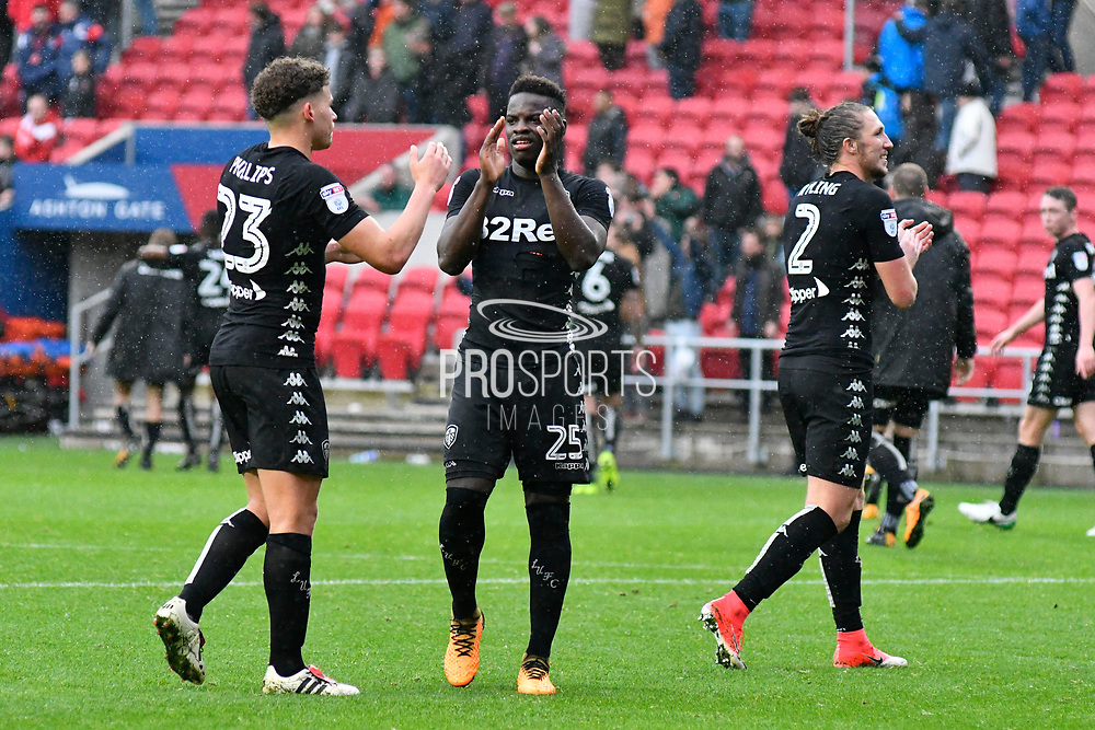Ronaldo Vieira (25) of Leeds United applauds the Leeds fans at full time after the 3-0 win during the EFL Sky Bet Championship match between Bristol City and Leeds United at Ashton Gate, Bristol, England on 21 October 2017. Photo by Graham Hunt.