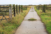 Orford Ness lighthouse Open Day, September 2017, Suffolk, England, UK - old military road crossing fields