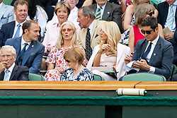 © Licensed to London News Pictures. 03/07/2018. London, UK. Carlo Nero, Joely Richardson, Tess Daly and Vernon Kaye watch centre court tennis in the royal box on the second day of the Wimbledon Tennis Championships 2018. Photo credit: Ray Tang/LNP