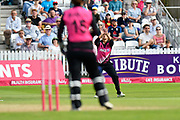 Wicket - Suzie Bates (c) of New Zealand takes the catch to dismiss Danielle Wyatt of England off the bowling of Leigh Kasperek of New Zealand during the International T20 match between England Women Cricket and New Zealand at the Cooper Associates County Ground, Taunton, United Kingdom on 23 June 2018. Picture by Graham Hunt.