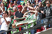 Forest Green Rovers supporters waiting for the final whistle during the Vanarama National League Play Off Final match between Tranmere Rovers and Forest Green Rovers at Wembley Stadium, London, England on 14 May 2017. Photo by Shane Healey.