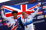 Podium BMX Finals men, Kyle Evans (Great Britain) gold medal, Kye Whyte (Great Britain) silver medal, during the Cycling European Championships Glasgow 2018, at Glasgow BMX Centre, in Glasgow, Great Britain, Day 9, on August 10, 2018 - Photo luca Bettini / BettiniPhoto / ProSportsImages / DPPI<br /> - Restriction / Netherlands out, Belgium out, Spain out, Italy out -