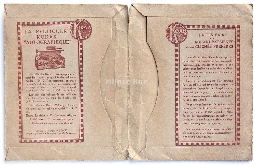 inside of a vintage Kodak film and prints envelope 1910s France