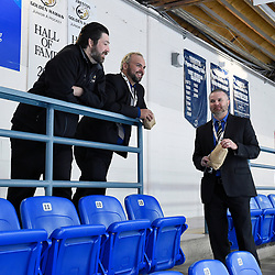 "TRENTON, ON  - MAY 3,  2017: Canadian Junior Hockey League, Central Canadian Jr. ""A"" Championship. The Dudley Hewitt Cup. Game 3 between Powassan Voodoos and the Dryden GM Ice Dogs. Powassan Voodoos coaching staff  before the game.<br /> (Photo by Andy Corneau / OJHL Images)"