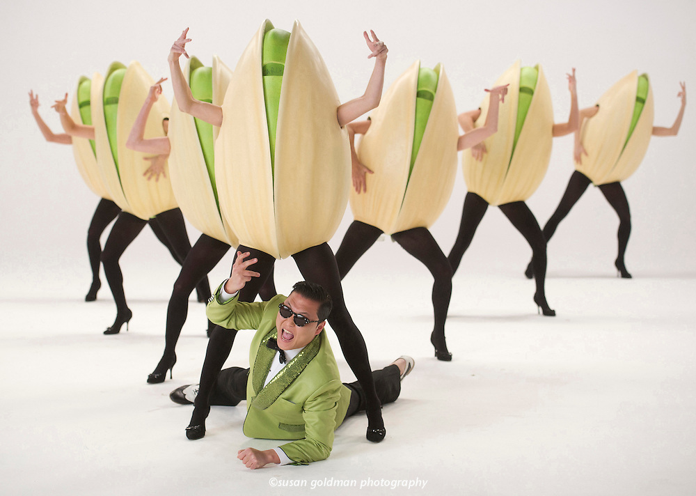 PSY, the South Korean global pop sensation who set social-media popularity records with his Gangnam Style YouTube music and dancing video, stars in a Super Bowl commercial for Wonderful Pistachios, photographed in North Hollywood, Calif. The commercial features PSY sporting a pistachio-green suit and demonstrating a new way to crack open the nuts. Photo/Wonderful Pistachios, Susan Goldman.