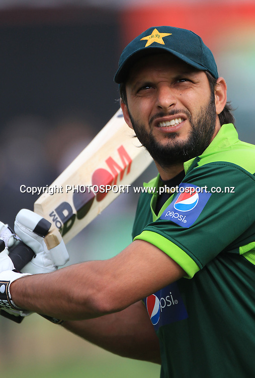 Pakistan Twenty20 captain Shahid Afridi. New Zealand Black Caps v Pakistan, Match 2. Twenty 20 Cricket match at Seddon Park, Hamilton, New Zealand. Tuesday 28 December 2010. Photo: Andrew Cornaga/photosport.co.nz