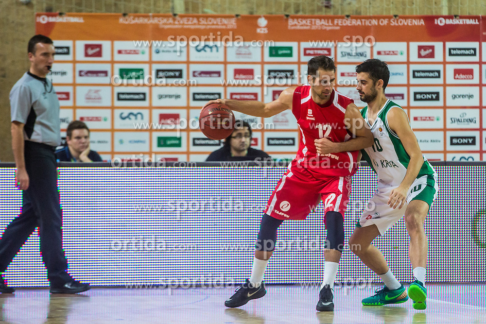 Stefan Sinovec of KK Krka Novo mesto vs Sandi Cebular of KK Tajfun Sentjur during basketball match between KK Krka Novo mesto and KK Tajfun Sentjur at Superpokal 2015, on September 26, 2015 in SKofja Loka, Poden Sports hall, Slovenia. Photo by Grega Valancic / Sportida.com