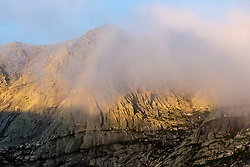 Fog and Mount Katahdin in Maine's Baxter State Park.