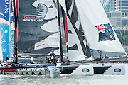 Emirates Team New Zealand compete in practice races for the first of the Extreme Sailing Series regattas being sailed in Singapore. 19/2/2014