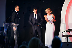 Manager Steve Cotterill and Aaron Wilbraham of Bristol City join Lisa Knights on stage at  Bristol Sport's Annual Gala Dinner at Ashton Gate Stadium - Mandatory byline: Rogan Thomson/JMP - 08/12/2015 - SPORT - Ashton Gate Stadium - Bristol, England.