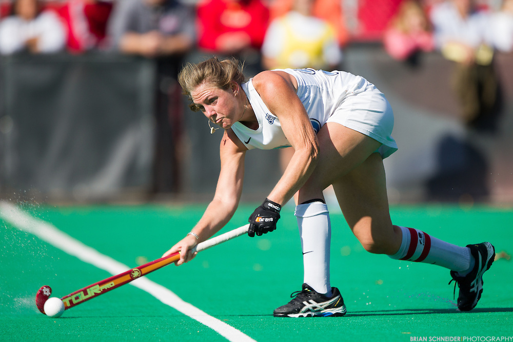 Oct 5, 2014; College Park, MD, USA; The Old Dominion Monarchs forward #10 Rosario Villagra makes a run against Maryland Terrapins at the Field Hockey and Lacrosse Complex in College Park, MD. Mandatory Credit: Brian Schneider-www.ebrianschneider.com