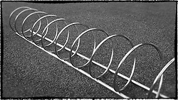 close-up of bike racks